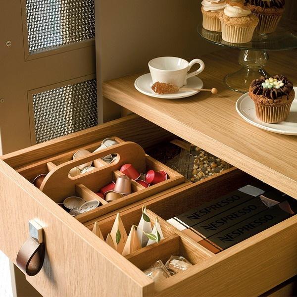 12-sertar mobila din lemn masiv de bucatarie pentru depozitarea ceaiurilor