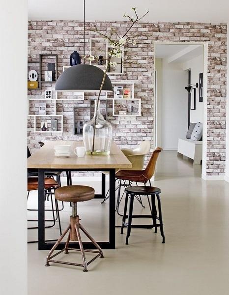 12-tapet decorativ imitatie caramida decor dining vintage