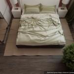 12-vedere de sus dormitor 12 mp finisat cu tapet rosu si dotat cu mobila alba