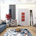 13-amenajare camera adolescent decorata in alb gri si albastru