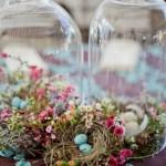 13-aranjamente rustice din flori iarba uscata si oua pentru masa de Pasti