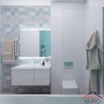 13-baie moderna cu faianta patchwork decor perete cu lavoar