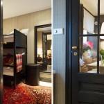 13-camera copiilor cu paturi supraetajate si tapet decorativ in carouri