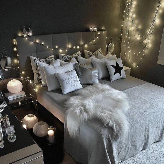 13-exemplu de amenajare a unui dormitor romantic stil scnadinav modern cu luminite decorative