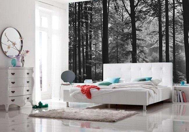 13-fototapet decorativ padure iarna in alb si negru decor perete dormitor alb