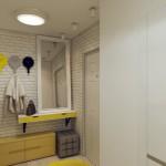 13-hol intrare modern cu accente galbene apartament 3 camere