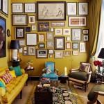 13-living mic amenajat in nuante de mustar cu mici accente turcoaz decora cu tablouri