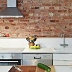 13-perete blat lucru bucatarie placat cu caramida aparenta