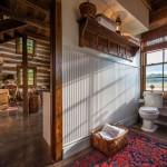 13-vedere din baie spre bucatarie si living parter casa rustica din lemn de nuc