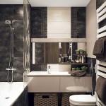 14-baie moderna mica decorata in alb gri si maro
