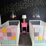 14-camera bebe gemeni perete vopsit cu vopsea cu efect de tabla de scris