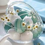14-cosulet din sticla cu oua vopsite aranjament decorativ pentru masa de Pasti