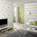 14-decor living modern pereti imbracati cu tapet cu imprimeu floral si imprimeu in dungi