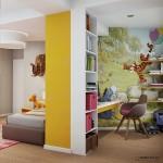 14-fototapet pe peretele din zona blatului de lucru din camera copilului