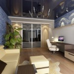 14-living modern lung impartit in doua arii de interes birou si zona de relaxare