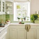 14-mobila bucatarie pe colt din lemn vopsit in alb casa veche Provence