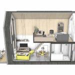 14-schita interior sectiune verticala casa modulara prefabricata 45 mp cu tot cu etaj