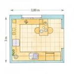 14-schita plan bucatarie 11 metri patrati cu mobila proiectata pe 3 laturi