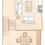 14-schita plan parter si mezanin casa cu 3 camere 3 bai si o bucatarie