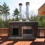 14-semineu de exterior si gratar placat cu piatra decorativa naturala terasa pe acoperis casa design modern
