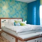 15-amenajare dormitor modern retro in alb albastru si vernil