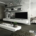 15-ansamblu tv dulap si polite suspendate pe perete living