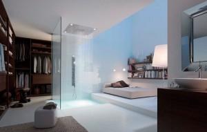 15-baie dressing si dormitor amenajate in plan deschis