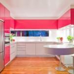 15-bucatarie moderna decorata in alb si roz aprins