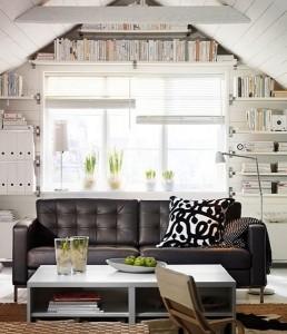 15-canapea din piele neagra model retro living alb