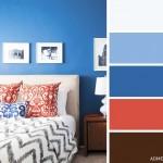 15-dormitor decorat in albastru rosu si maro intercalat cu alb