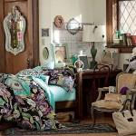 15-lenjerie de pat cu imprimeu floral turcoaz si violet