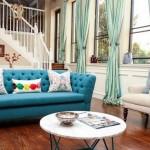 15-perdele bleu cu turcoaz decor living amenajat in stil modern