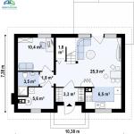 15-plan compartimentare parter proiect nou casa mica cu mansarda