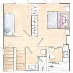 15-schita plan etaj casa cu doua dormitoare