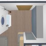 15-vedere de sus hol intrare cu dressing proiectat pe un perete intreg