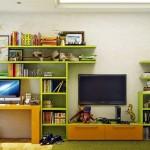 16-biblioteca verde si portocaliu camera copil