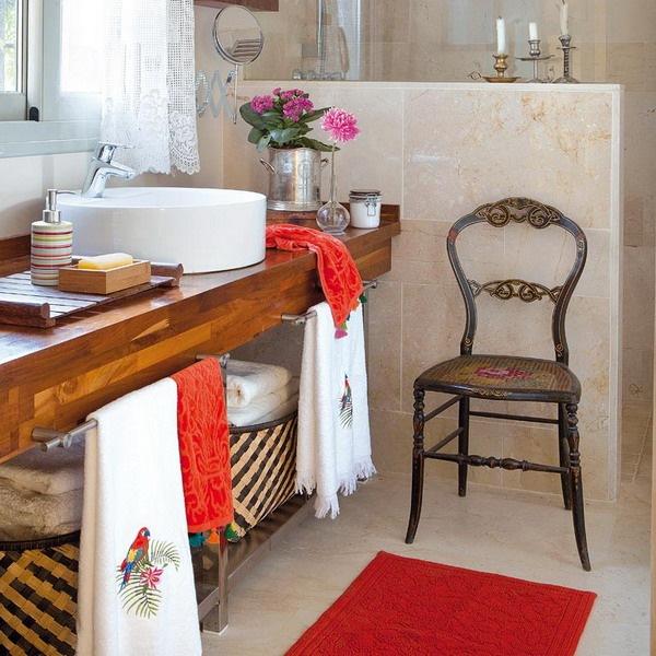 16-blat din lemn masiv lavoar baie si perete despartitor cabina dus