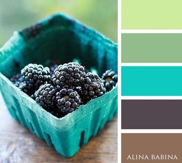 16-combinatii de culori in tonuri de maro verde si turcoaz