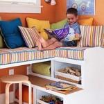 16-loc de relaxare cu etajera si bancuta fereastra camera copil