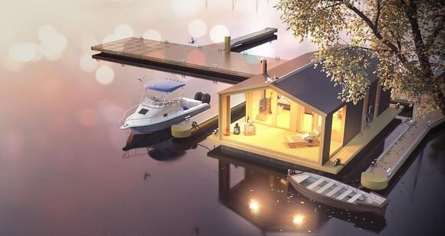 16-model casa modulara prefabricata plutitoare DublDom houseboat