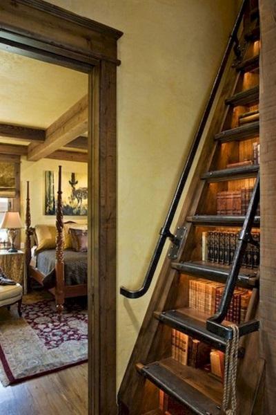 16-model scara interioara integrata in biblioteca casa mica cu mansarda