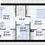 16-plan mansarda 2 dormitoare cu balcoane casa mica proiect nou