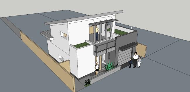 16-schita 3d casa moderna 74 mp cu etaj garaj si balcon