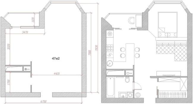 16-schita compartimentare interioara apartament open space 47 mp inainte si dupa