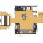 16-schita plan apartament mic cu doua camere suprafata totala 20 mp