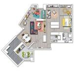 16-schita plan compartimentare apartament cu 3 camere si 2 bai Madrid