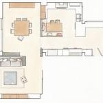 16-schita plan zona de zi apartament modern cu 3 dormitoare