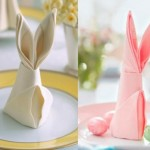 16-servete de panza impaturite in forma de iepuras decor masa festiva de Pasti