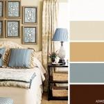 16-varianta amenajare dormitor in nuante de maro bej auriu si bleu cu tenta gri