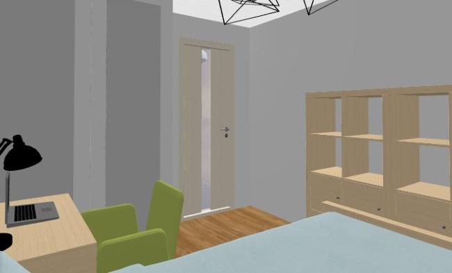 17-biblioteca si dulap de haine pana in tavan amenajare camera copil dormitor mic